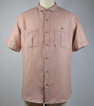 Men's 100% fine linen yarn dyed stripe s/s shirts